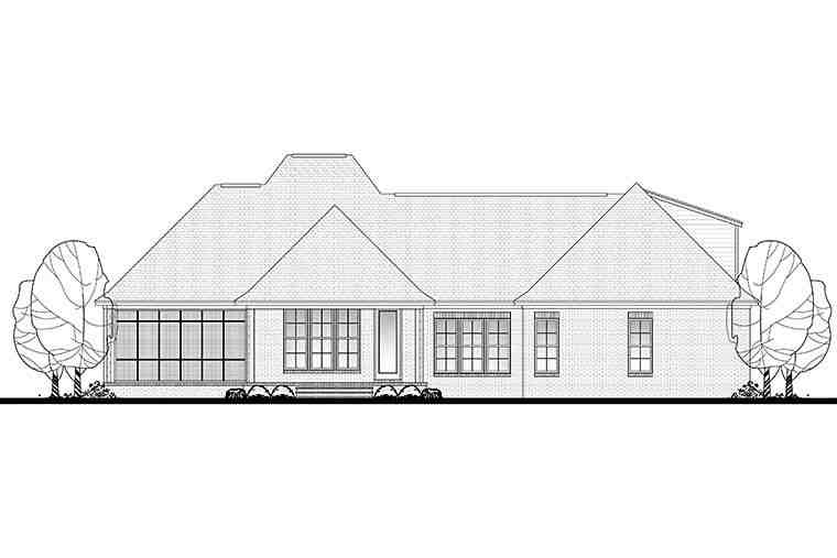 Country, European, French Country House Plan 51913 with 3 Beds, 2 Baths, 2 Car Garage Rear Elevation