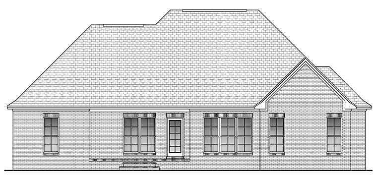 Country, French Country, Traditional House Plan 51914 with 3 Beds, 2 Baths, 2 Car Garage Rear Elevation