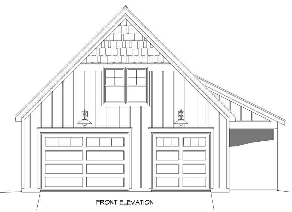 Bungalow, Country, Craftsman, Traditional 2 Car Garage Apartment Plan 52113 Picture 3