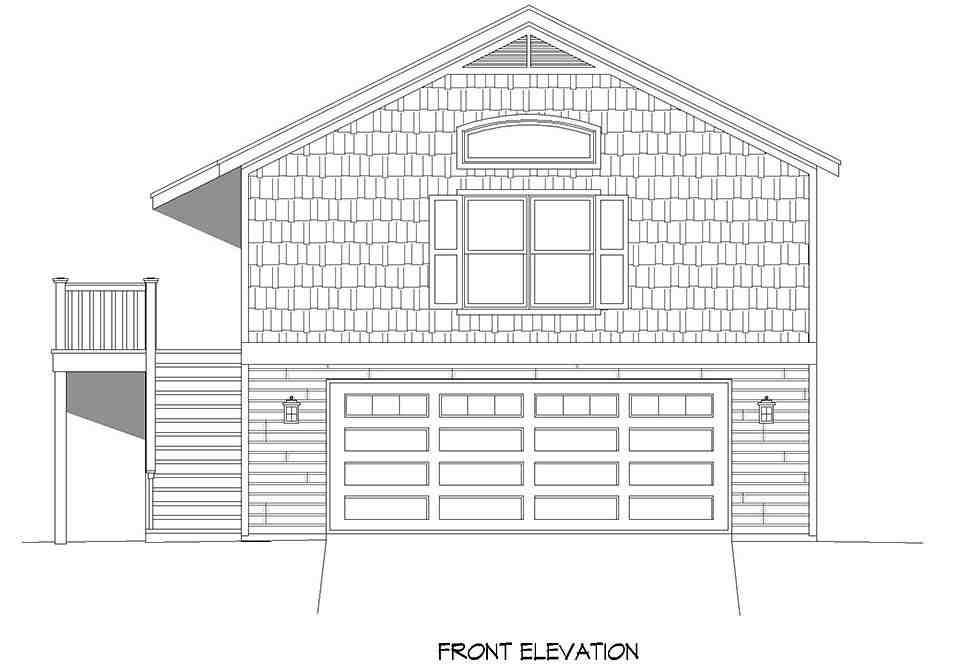 Cape Cod, Saltbox, Traditional Garage-Living Plan 52146 with 1 Beds, 1 Baths, 2 Car Garage Picture 3