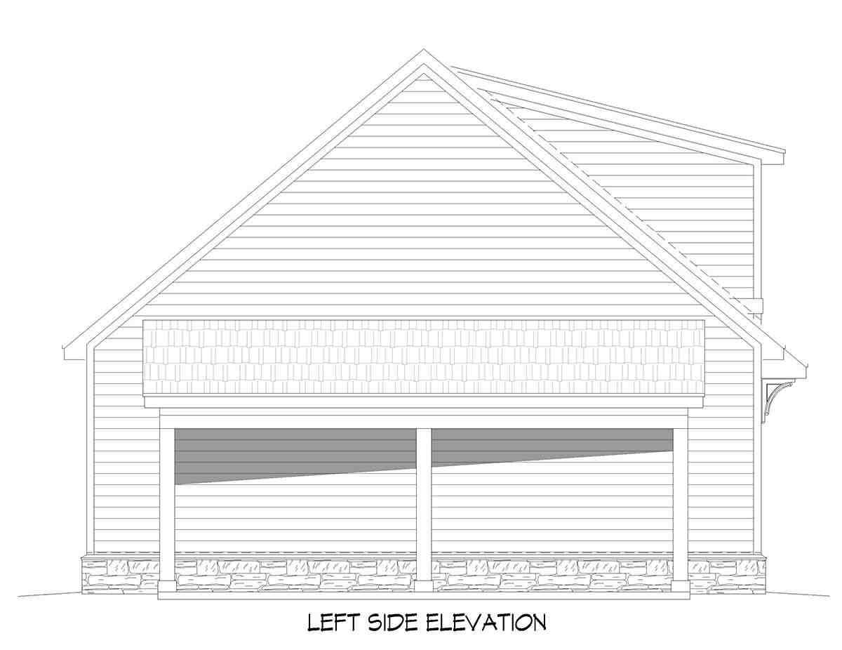 Country, Prairie 5 Car Garage Plan 52178 Picture 2