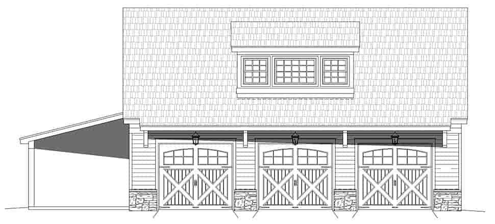 Country, Prairie 5 Car Garage Plan 52178 Picture 3