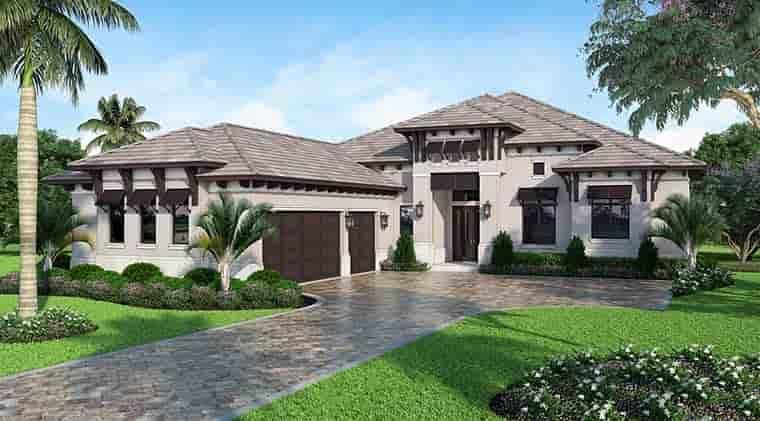Coastal, Florida, Mediterranean House Plan 52930 with 4 Beds, 6 Baths, 3 Car Garage Elevation