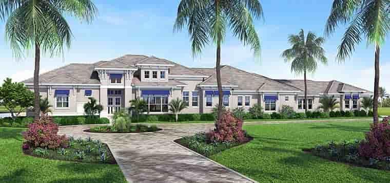 Coastal, Contemporary, Florida House Plan 52939 with 4 Beds, 6 Baths, 3 Car Garage Elevation