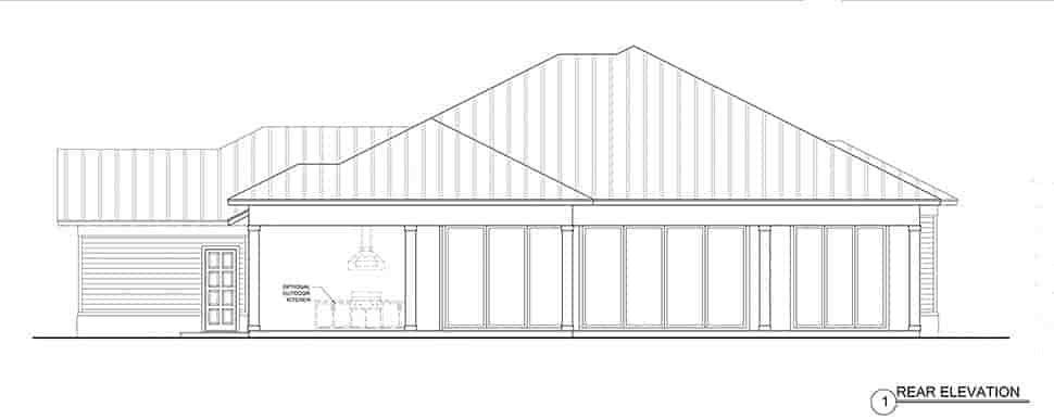 Coastal, Florida House Plan 52946 with 4 Beds, 3 Baths, 3 Car Garage Rear Elevation