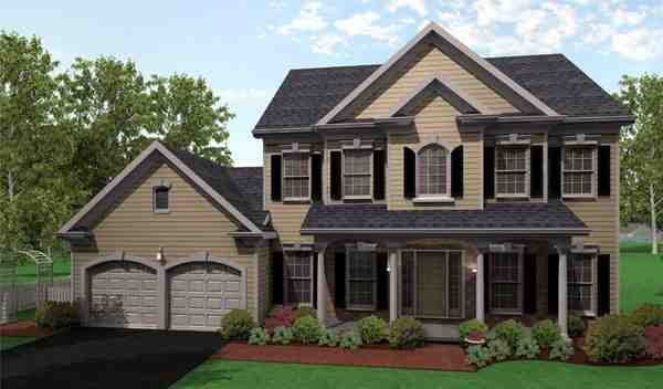 Country, Traditional House Plan 54030 with 4 Beds, 3 Baths, 2 Car Garage Elevation