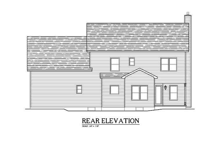 Traditional House Plan 54122 with 5 Beds, 3 Baths, 2 Car Garage Rear Elevation