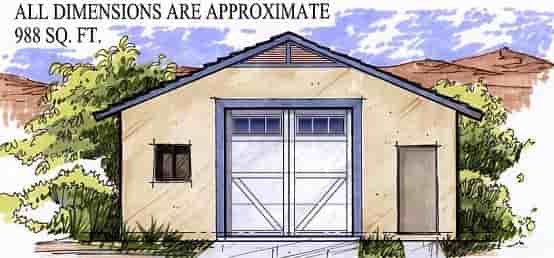 2 Car Garage Plan 54799 Elevation
