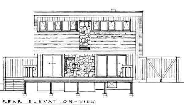Contemporary, Narrow Lot, One-Story House Plan 55126 with 2 Beds, 1 Baths Rear Elevation