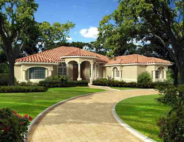 Florida, One-Story House Plan 55892 with 5 Beds, 5 Baths, 3 Car Garage Elevation