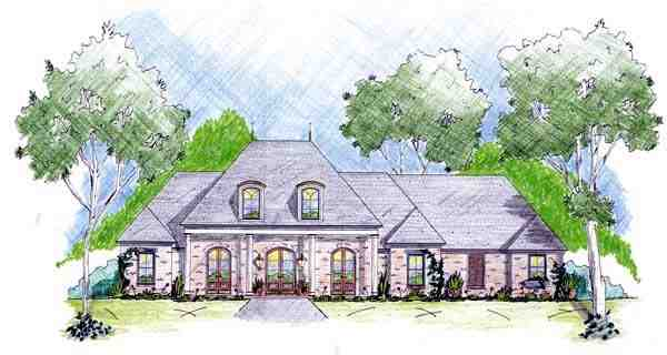 One-Story House Plan 56269 with 4 Beds, 3 Baths, 2 Car Garage Elevation