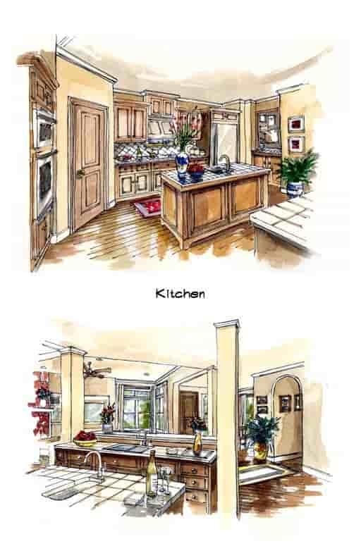 Mediterranean, Southwest House Plan 56540 with 3 Beds, 3 Baths, 3 Car Garage Picture 2