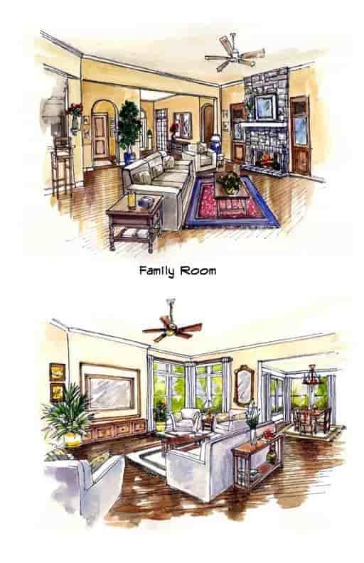 Mediterranean, Southwest House Plan 56540 with 3 Beds, 3 Baths, 3 Car Garage Picture 3
