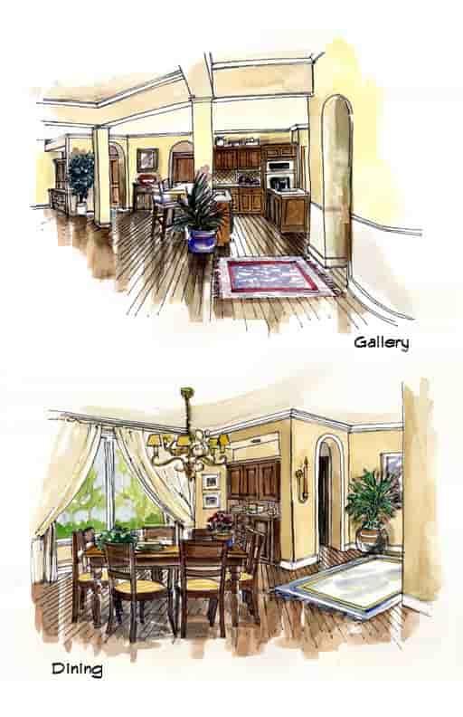 Mediterranean, Southwest House Plan 56540 with 3 Beds, 3 Baths, 3 Car Garage Picture 5