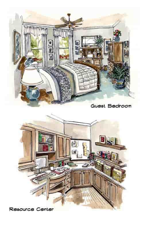 Mediterranean, Southwest House Plan 56540 with 3 Beds, 3 Baths, 3 Car Garage Picture 6