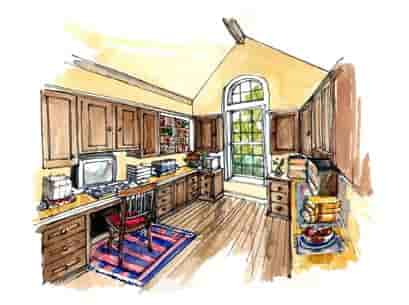 European, Traditional House Plan 56543 with 3 Beds, 2 Baths, 3 Car Garage Picture 2