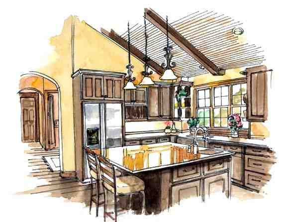 European, Traditional House Plan 56543 with 3 Beds, 2 Baths, 3 Car Garage Picture 4