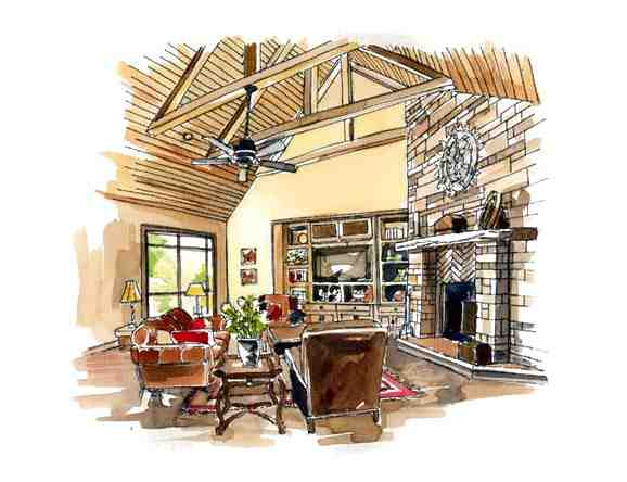 European, Traditional House Plan 56543 with 3 Beds, 2 Baths, 3 Car Garage Picture 5