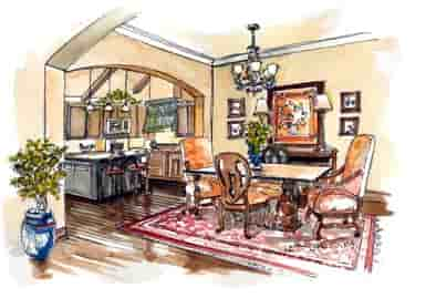 European, Traditional House Plan 56543 with 3 Beds, 2 Baths, 3 Car Garage Picture 6