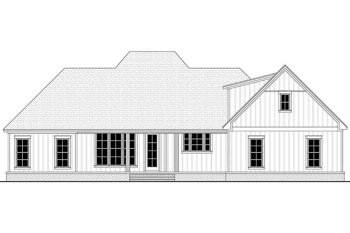 Country, French Country, Southern House Plan 56711 with 3 Beds, 3 Baths, 2 Car Garage Rear Elevation