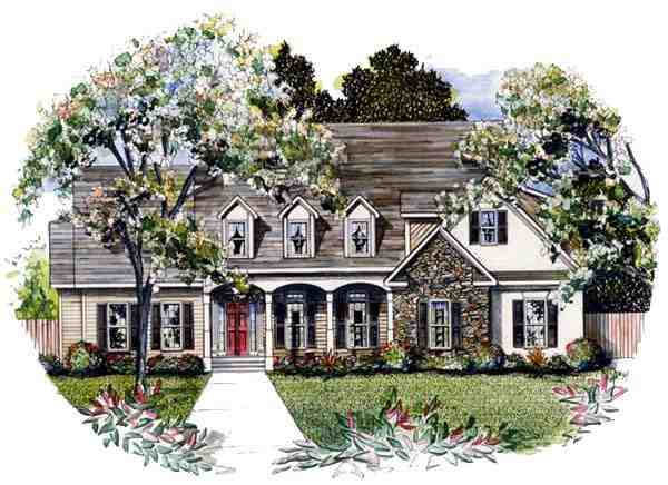 Cape Cod House Plan 58086 with 4 Beds, 4 Baths, 2 Car Garage Elevation