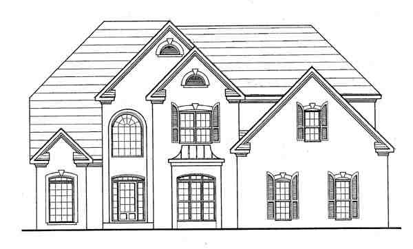 Traditional House Plan 58092 with 4 Beds, 2 Baths, 2 Car Garage Elevation