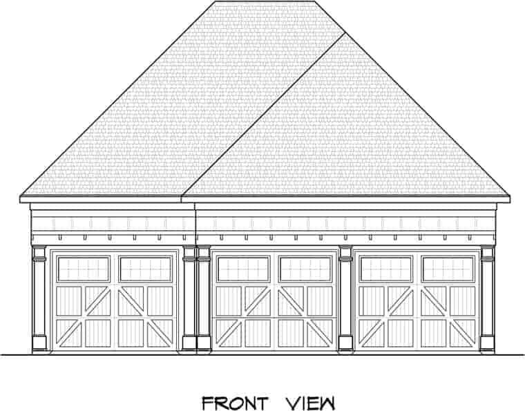 3 Car Garage Plan 58247 Elevation