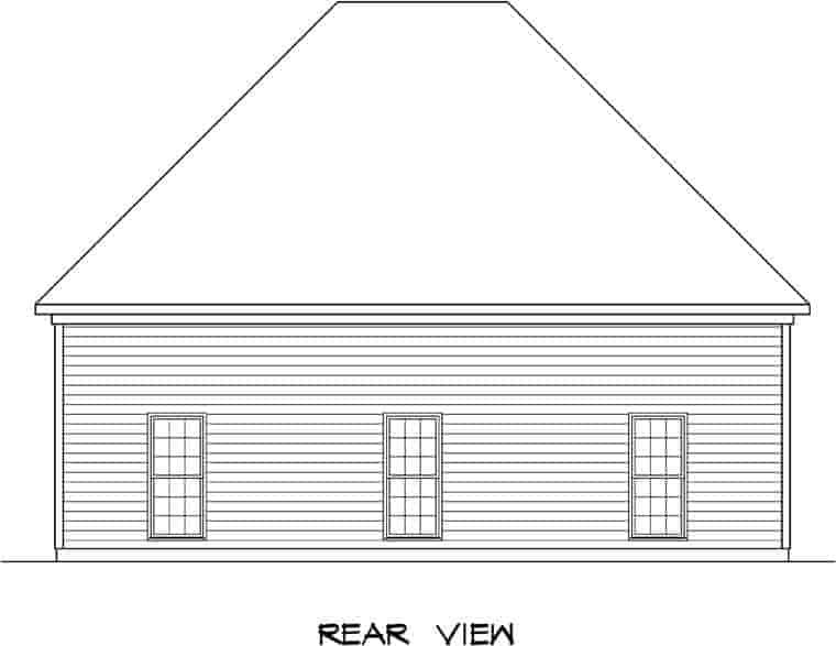 3 Car Garage Plan 58247 Rear Elevation