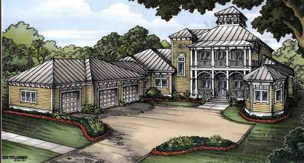 Florida House Plan 58905 with 4 Beds, 5 Baths, 3 Car Garage Elevation