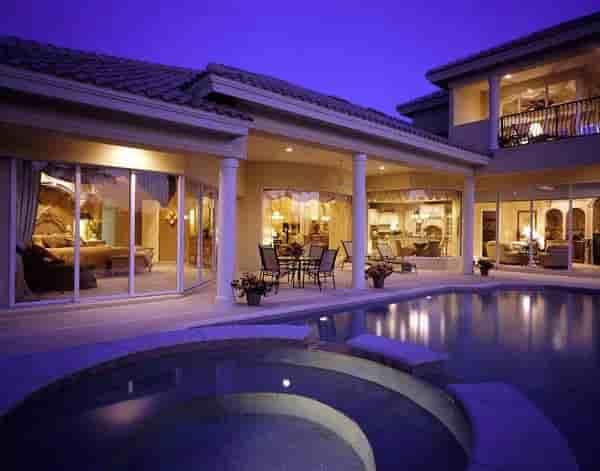 Florida House Plan 58907 with 3 Beds, 4 Baths, 3 Car Garage Rear Elevation