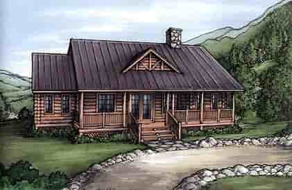 Cabin, Log House Plan 58982 with 5 Beds, 4 Baths Elevation