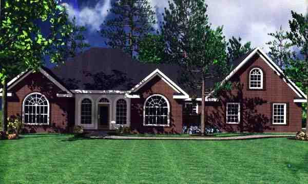 European, Ranch, Traditional House Plan 59019 with 3 Beds, 3 Baths, 2 Car Garage Elevation