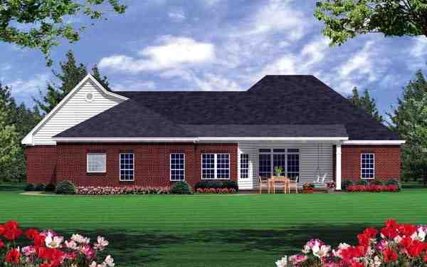 European, Ranch, Traditional House Plan 59019 with 3 Beds, 3 Baths, 2 Car Garage Rear Elevation