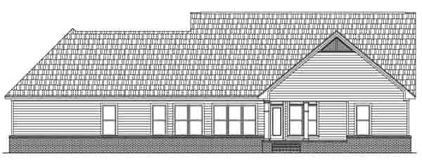 Craftsman, Ranch, Traditional House Plan 59089 with 3 Beds, 3 Baths, 2 Car Garage Rear Elevation
