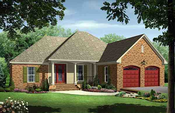 European, Traditional House Plan 59099 with 3 Beds, 2 Baths, 2 Car Garage Elevation
