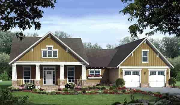 Craftsman House Plan 59178 with 3 Beds, 3 Baths, 2 Car Garage Elevation