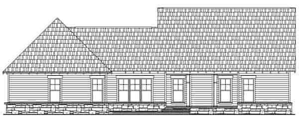 Craftsman House Plan 59178 with 3 Beds, 3 Baths, 2 Car Garage Rear Elevation