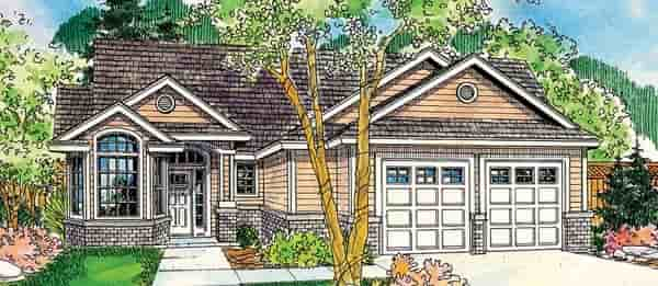 Contemporary, Cottage, European, Traditional House Plan 59719 with 3 Beds, 3 Baths, 2 Car Garage Elevation