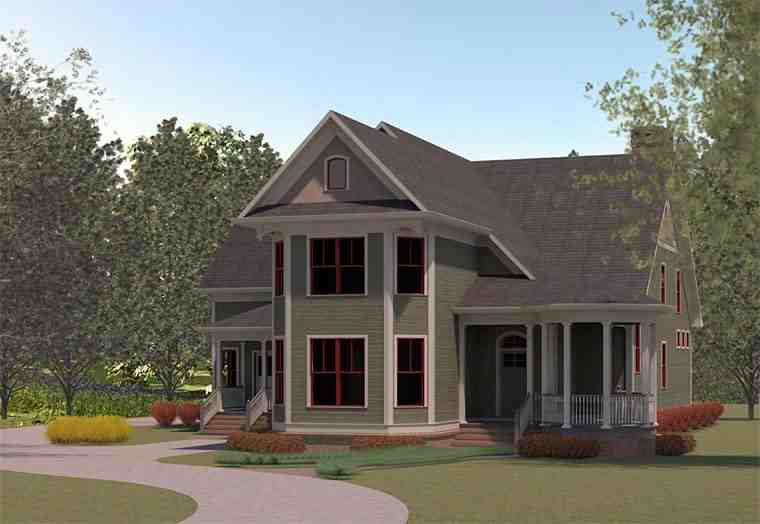 Country, Traditional House Plan 60004 with 3 Beds, 4 Baths, 3 Car Garage Elevation
