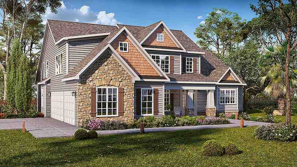 Cottage, Craftsman, Traditional House Plan 60046 with 4 Beds, 5 Baths, 3 Car Garage Elevation