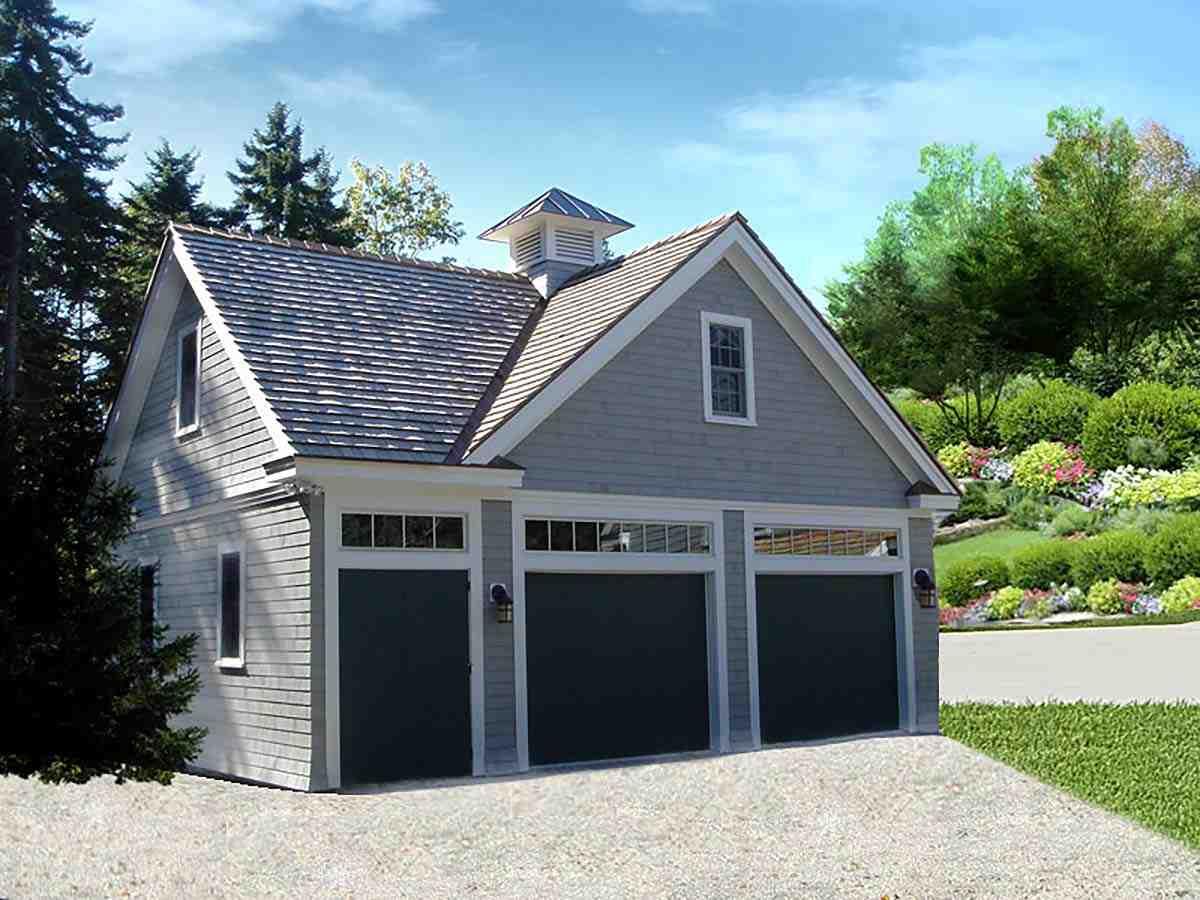 Cottage, Traditional 2 Car Garage Apartment Plan 60686 Elevation