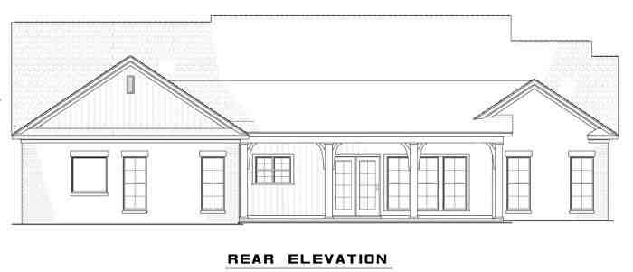 Country, Craftsman, Ranch, Traditional House Plan 61297 with 3 Beds, 3 Baths, 2 Car Garage Rear Elevation