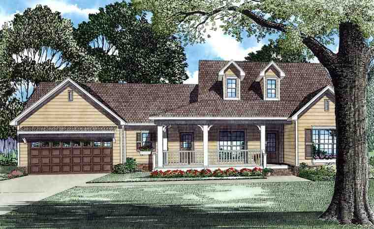 Country, Southern, Traditional House Plan 62084 with 3 Beds, 2 Baths, 2 Car Garage Elevation