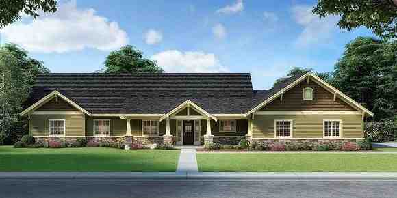 Country, Craftsman, Ranch House Plan 63556 with 3 Beds, 2 Baths, 3 Car Garage Elevation