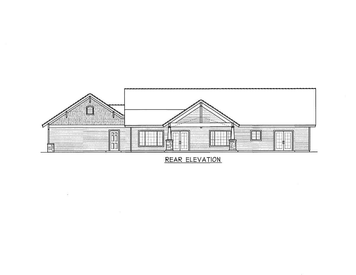 Country, Craftsman, Ranch House Plan 63556 with 3 Beds, 2 Baths, 3 Car Garage Rear Elevation