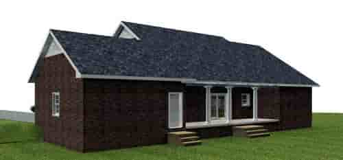 Country, One-Story House Plan 64573 with 3 Beds, 2 Baths, 2 Car Garage Rear Elevation