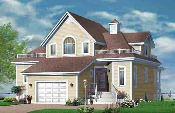 Coastal, Victorian House Plan 64807 with 4 Beds, 2 Baths, 1 Car Garage Rear Elevation