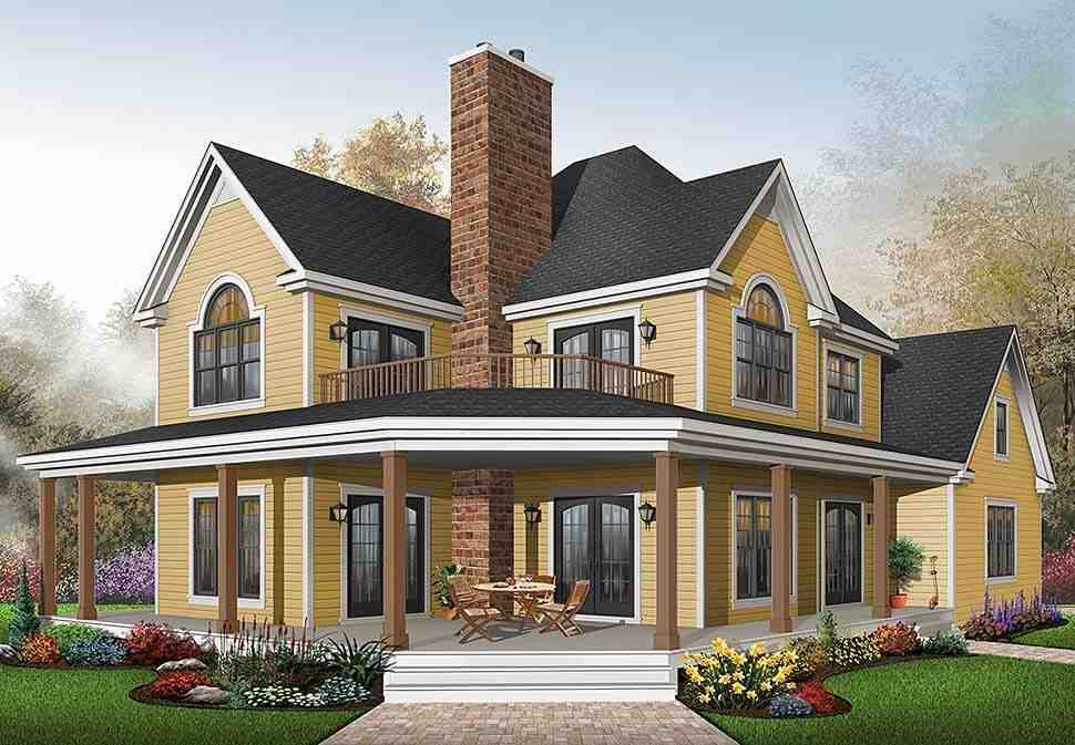 Country House Plan 64827 with 3 Beds, 3 Baths, 2 Car Garage Elevation