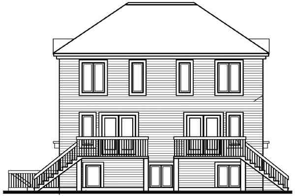 Multi-Family Plan 64905 with 6 Beds, 5 Baths Rear Elevation