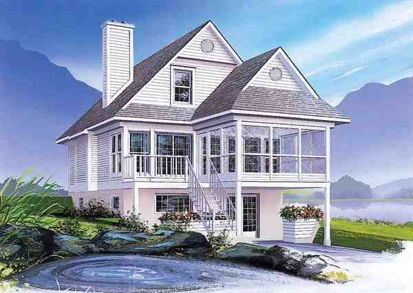Coastal, Country House Plan 65000 with 3 Beds, 2 Baths Elevation